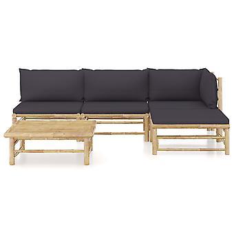 vidaXL 5 pezzi. Set lounge da giardino con cuscino grigio scuro bambù