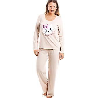 Camille Beige Full Length Pussy Cat Motif Pyjama Set