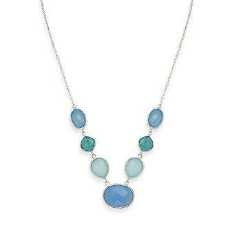 925 Sterling Silver Stabilized Turquoise and Chalcedony Necklace 16+2 Inch Extention is Set Stones Lobst Jewelry Gifts f