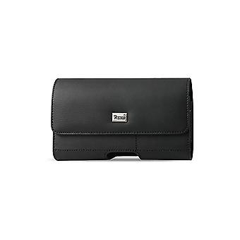 Reiko Horizontal Leather Card Holder Pouch for Mobile Devices - Black