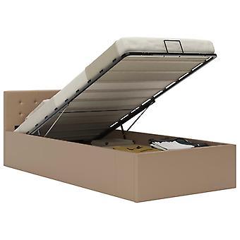 vidaXL سرير التخزين الهيدروليكي كابتشينو براون الجلود الاصطناعية 100×200 سم