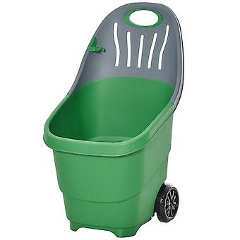 Outsunny Multi Purpose Garden Cart Barrow with Handle Wheels for Snow Fallen Leaves Cleaning, Lightweight, Easy to Move, with Clip for Broomstick, 60L