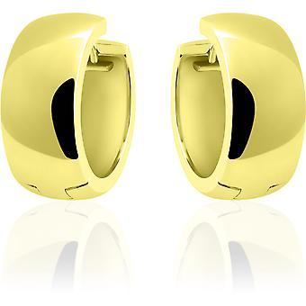 Gisser Joyas - Pendientes - Pendientes - Media esfera lisa con bisagra - 9mm de ancho - 22mmØ - Oro amarillo Plateado plata 925