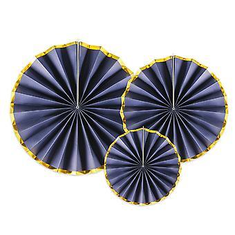 3 Navy Blå med Gold Edge Rosett eller Fläkt Pappersdekorationer
