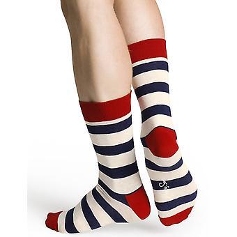 Happy Socks Stripe strumpor - blå/vit/röd