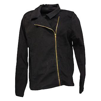IMAN Global Chic Women's Illusion Denim Moto Jacket Black 735583