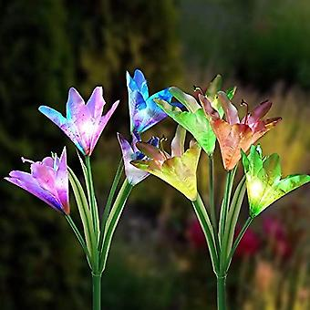 Bexdir 2 Pack Outdoor Solar Garden Lights - Impermeable Multi-color Changing Lily Solar Flower Lights - Stake Flower Lights For Patio, Yard Decorative