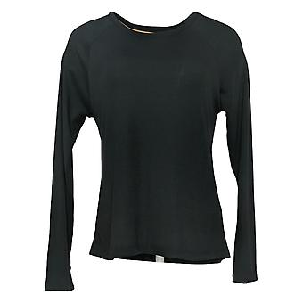 Maiden Form Women's Top Ribbed Long Sleeve Tee Black 631063