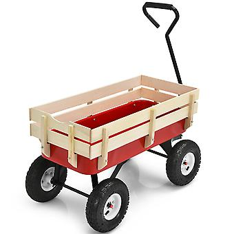 Pull -Along Wagon for Kids w/ Wood Railing Panels 150kg Capacity Outdoor Garden