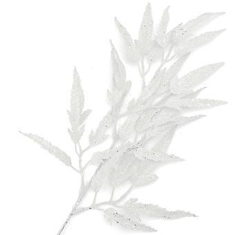 73cm Weiß Glitzer Boxelder Leaf Spray für Floristik Handwerk