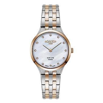 Roamer 512847 49 89 20 Women's Slim Line Diamond Two Tone Bracelet Wristwatch