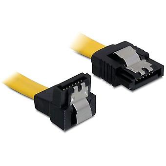 DeLOCK SATA 6 GB/s, cable låsclip, ángulo (hacia abajo)-recta, 0, 5 m, amarillo