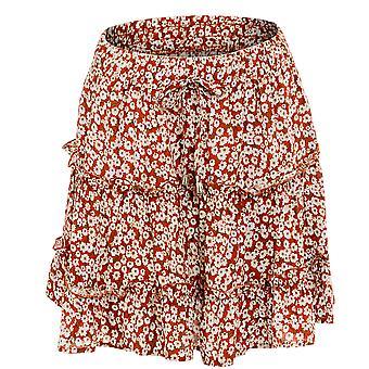 Dámske Ruffle s vysokým pásom vytlačené plážové party krátke sukne