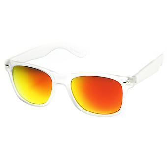 Frosted Frame kleur reflecterende spiegel Lens hoorn omrande zonnebril
