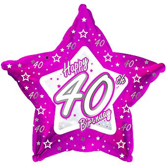 Creative Party Happy 40th Birthday Pink Star Balloon