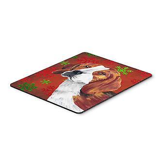 Beagle Red and Green Snowflakes Holiday Christmas Mouse Pad, Hot Pad or Trivet