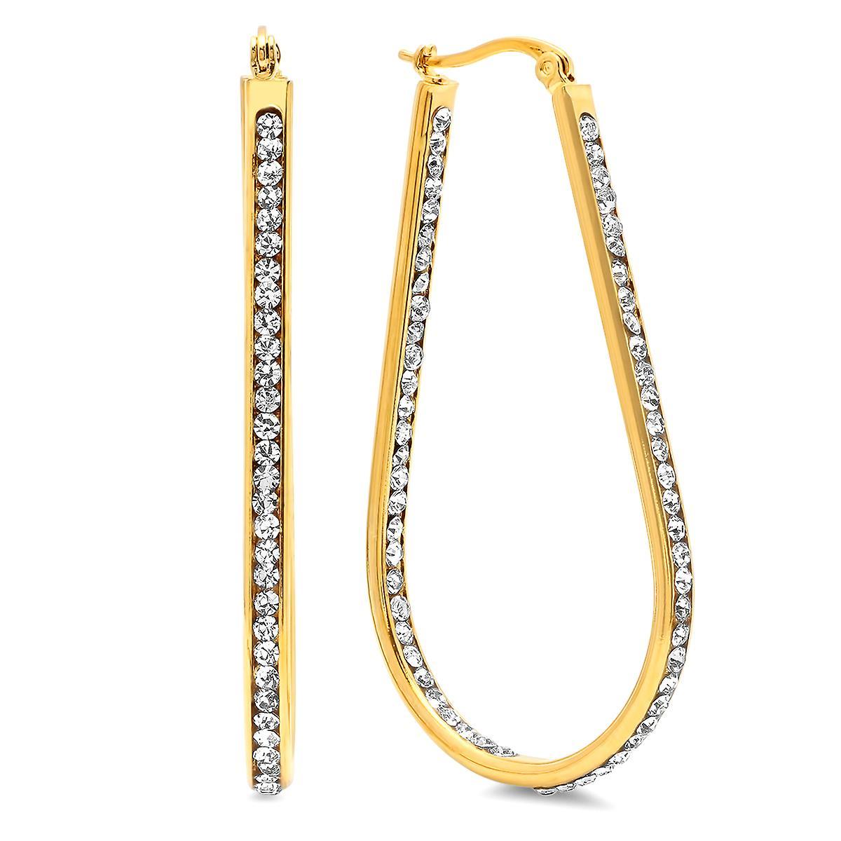 Ladies 18K Gold Plated Stainless Steel Simulated Diamond Hoop Earrings