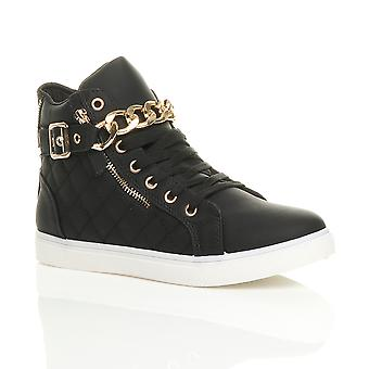 Ajvani kvinners flat blonder opp Hei høy topp kjeden zip pumper trenere sko ankelen støvler joggesko