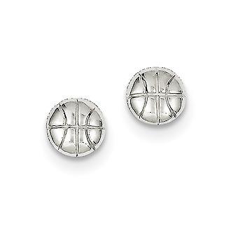 925 sterling ezüst tömör polírozott post fülbevaló kosárlabda mini a fiúk vagy lányok fülbevaló