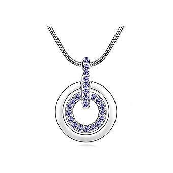 Womens Purple Circle Pendant Necklace