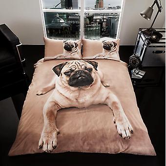 3D dier Pug Dog Premium Dekbedovertrek dekken beddengoed instellen van één dubbele koning