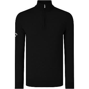 Callaway Mens Ribbed 1/4 Zip Merino Contrast Golfing Golf Tour Sweater