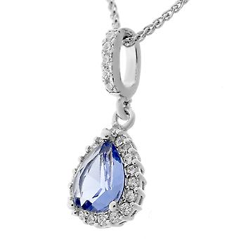 Orphelia Silver 925 Pendant Drop met ketting 42 + 3 Cm Blue Topaz kleur zirkonium ZH-7226/BT