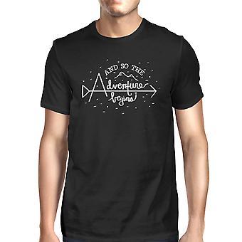 وتبدأ المغامرة الأسود رجالي التخرج هدية قميص القطن جولة العنق
