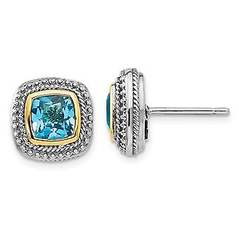 6mm Cushion Cut Blue Topaz Post Earrings in Sterling Silver with 14K Gold Accent