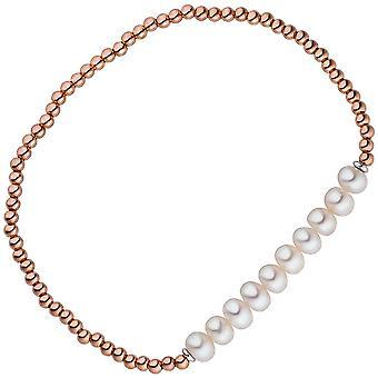 Bracelet 925 argent or plaqué 10 bracelet de perles d'eau douce perles flexible