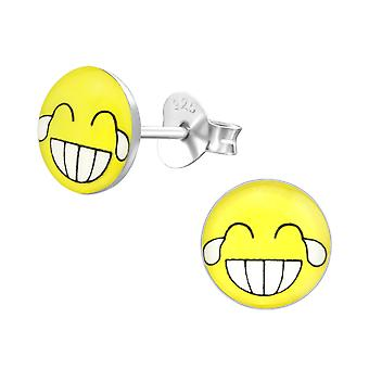 Laugh Face - 925 Sterling Silver Colourful Ear Studs - W35422x