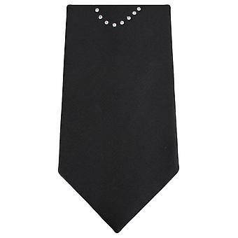Gravatas de Knightsbridge Diamante amor coração laço - preto/prata/vermelho