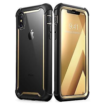 i Blason iPhone XS tapauksessa iPhone X asia Ares koko kehon karu selkeä puskurin kattaa sisäänrakennettu Screen Protector, kulta