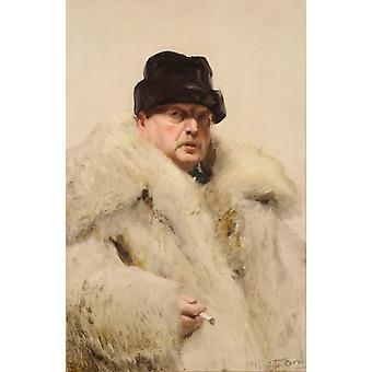 Selbstporträt In einem Wolfskin, Anders Zorn, 60x40cm