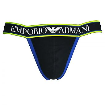 Emporio Armani Magnum Style Experience Push Up Jockstrap, Black With Blue / Yellow Trim, X Large