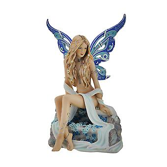 Sapphire Alluring Blue Butterfly Winged Fairy Statue