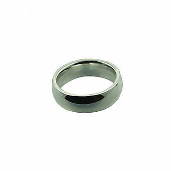 Platin 6mm einfache Gericht Wedding Ring Größe P