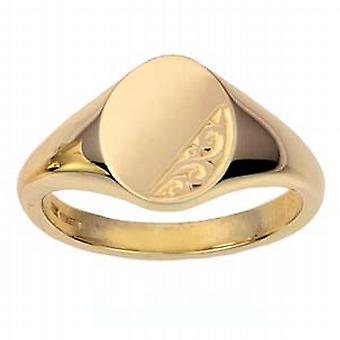 9ct Gold 13x10mm solid hand engraved oval Signet Ring Size W