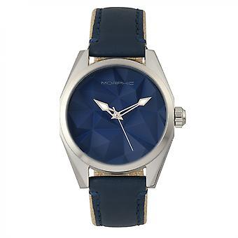 Morphic M59 serie läder-belagd duk-Band Watch - Silver/blå