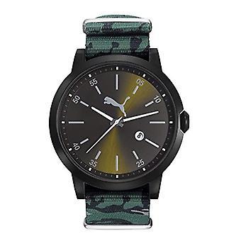 Cougar tid frigjort wrist ur, analog, Nylon bånd, sort/grønn Militario