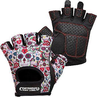 Contrebande de 5237 Pink Label Sugar Skull musculation gants - sport blanc