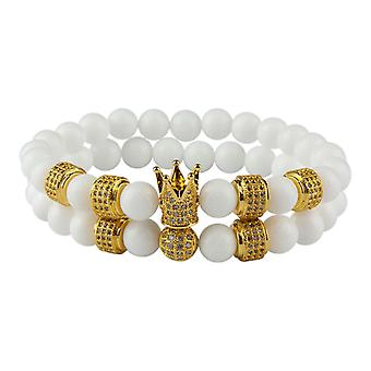 Bracelet-Smooth beads and crown, white