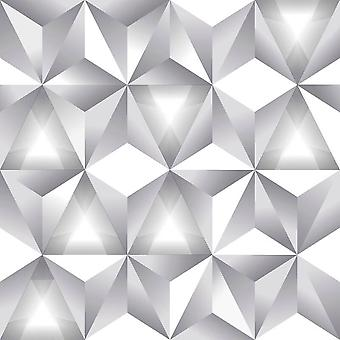 Geometrische 3D driehoek patroon wit grijs moderne metalen Wallpaper Arthouse