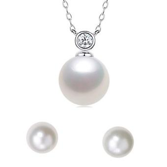 925 Sterling Silver Bezel Pearl Necklace With Stone & Earring Set