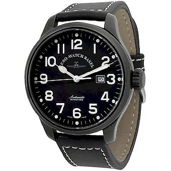 Zeno-watch mens watch oversized pilot black 8554-bk-a1