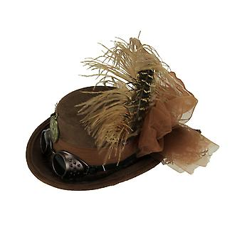 Brown Faux Suede Mini Feathered Steampunk Riding Hat Halloween Kostüm-Zubehör