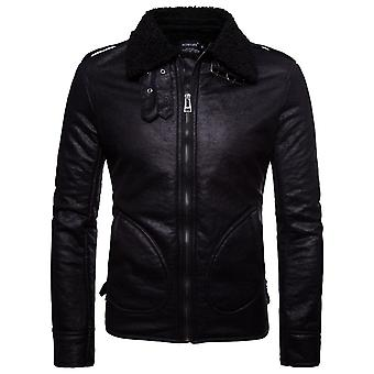 Allthemen Men's Leather Coat Thickened Windproof Warm Leather Jacket