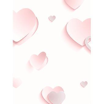 3D hearts glitter behang roze Muriva J92603