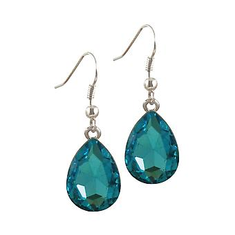 Eternal Collection Flawless Turquoise Crystal Silver Tone Drop Pierced Earrings