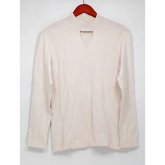 Dennis Basso Sweater Mock Neck Sweater with Keyhole Detail Ivory A299642